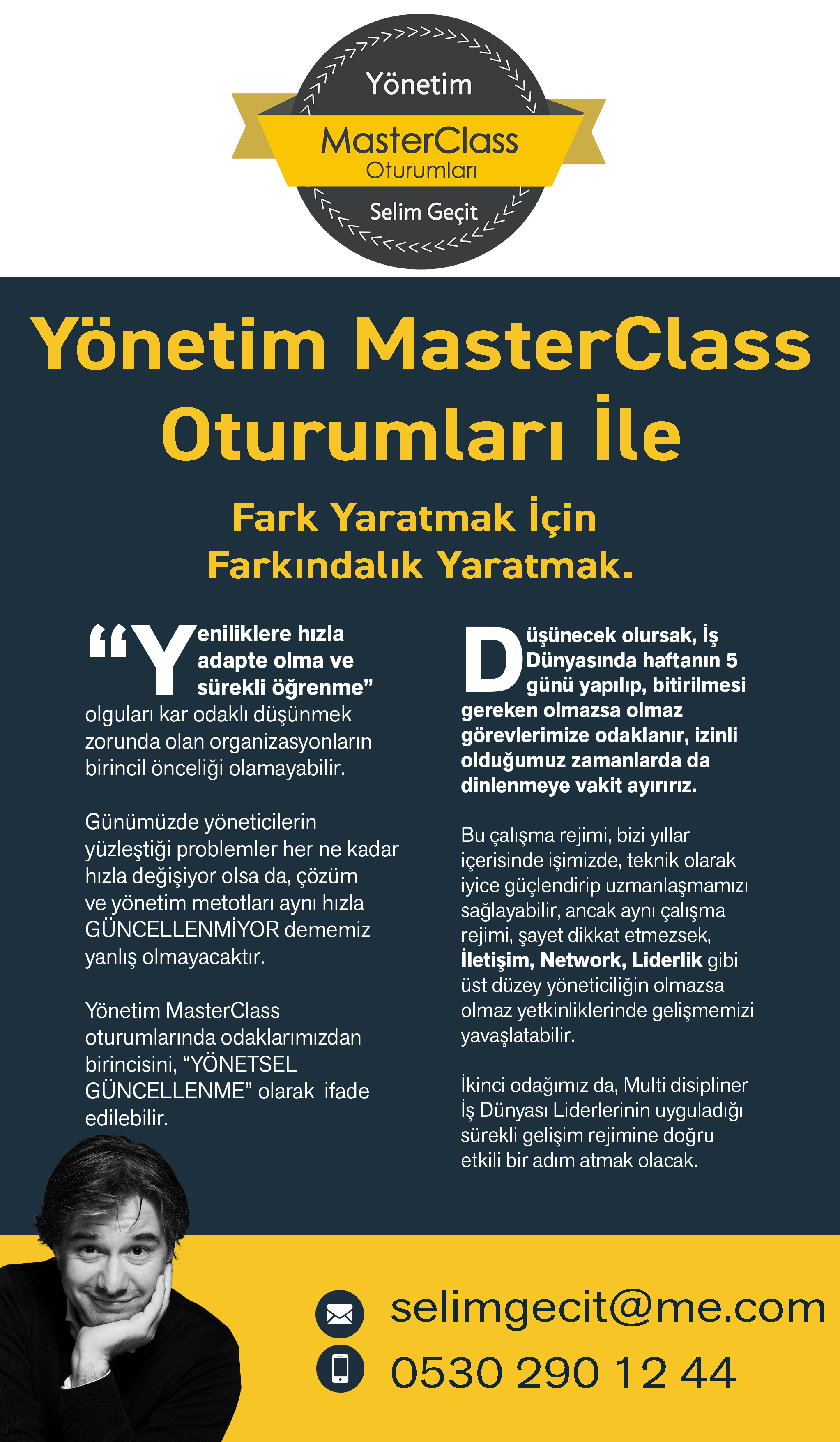 Yönetim Eğitimleri poster - selim geçit